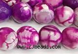CAA5523 15 inches 10mm faceted round fire crackle agate beads