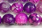 CAA5524 15 inches 10mm faceted round fire crackle agate beads