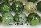 CAA5528 15 inches 10mm faceted round fire crackle agate beads