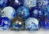 CAA5530 15 inches 10mm faceted round fire crackle agate beads