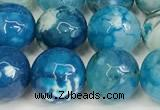 CAA5531 15 inches 10mm faceted round fire crackle agate beads