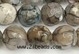 CAA5532 15 inches 10mm faceted round fire crackle agate beads