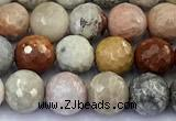 CAA5920 15 inches 6mm faceted round chrysanthemum agate beads