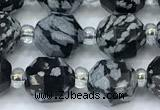 CCB1448 15 inches 7mm - 8mm faceted snowflake obsidian beads
