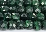 CCU1016 15 inches 4mm faceted cube malachite beads