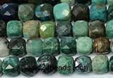 CCU1027 15 inches 4mm faceted cube chrysocolla beads