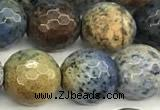 CDU383 15 inches 12mm faceted round dumortierite beads