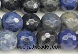 CDU385 15 inches 6mm faceted round dumortierite beads