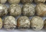 CMB61 15 inches 8mm faceted round medical stone beads