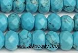 CRB5828 15 inches 4*6mm, 5*8mm faceted rondelle imitation turquoise beads